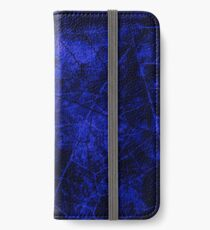 Deep Royal Blue Black Crackle Lacquer Pattern Grunge Texture iPhone Wallet