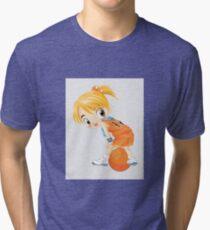 Basketball cartoon girl character Tri-blend T-Shirt