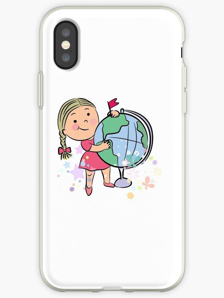 new arrival 607a6 5635b 'Sports girl globe cartoon' iPhone Case by lovingangela