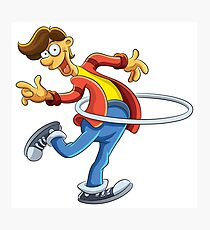 Cartoon boy playing with ring Photographic Print