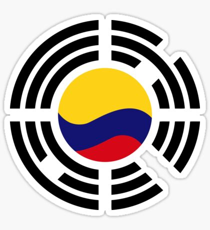 Korean Colombian Multinational Patriot Flag Series Glossy Sticker
