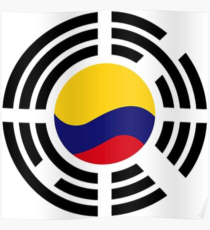 Korean Colombian Multinational Patriot Flag Series Poster