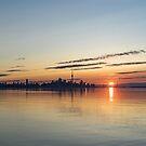 Half a Sunrise - Toronto Skyline From Across Silky Calm Lake Ontario by Georgia Mizuleva