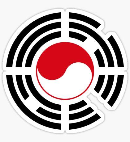 Korean Indonesian Multinational Patriot Flag Series Sticker