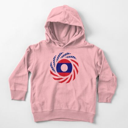 Lao American Multinational Patriot Flag Series Toddler Pullover Hoodie