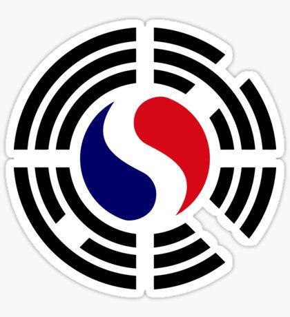 Korean French Multinational Patriot Flag Series Sticker