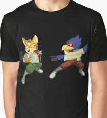 Fox and Falco StarFox Melee Design Graphic T-Shirt