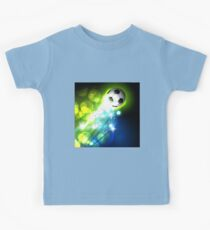 Glowing soccer ball on abstract background Kids Clothes