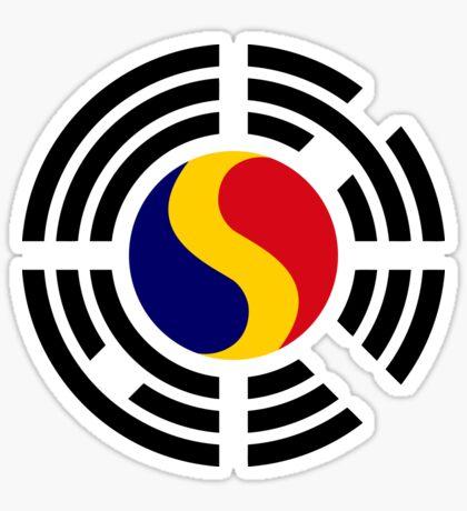 Korean Romanian Multinational Patriot Flag Series Sticker