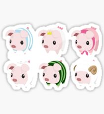 Poogie Piggie Monster Hunter Print all 6  Sticker