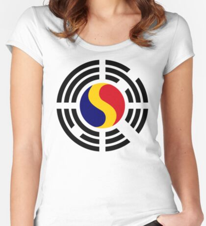 Korean Romanian Multinational Patriot Flag Series Fitted Scoop T-Shirt