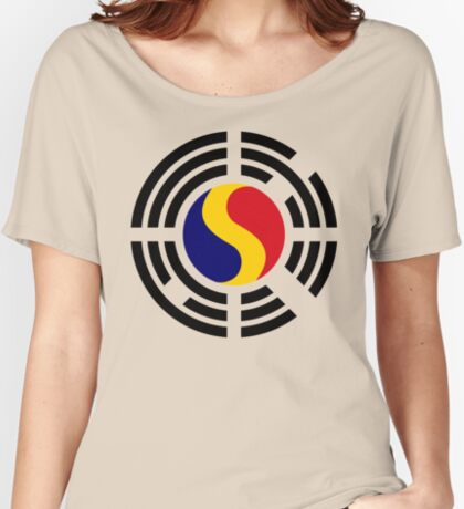 Korean Romanian Multinational Patriot Flag Series Relaxed Fit T-Shirt