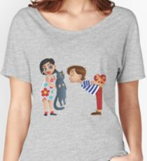 Valentine kiss cat Women's Relaxed Fit T-Shirt