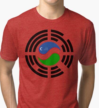 Korean Uzbeki Multinational Patriot Flag Series Tri-blend T-Shirt