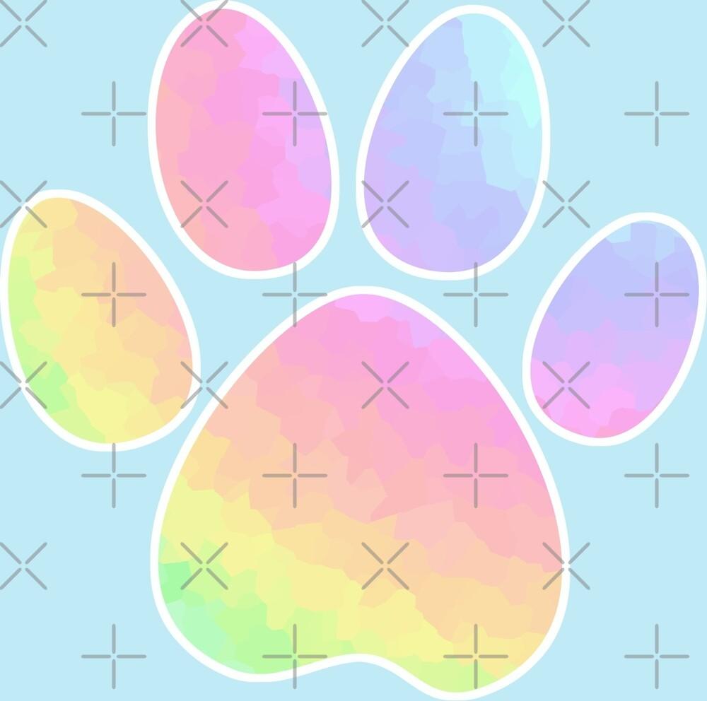 Crystal Rainbow Pastel Dog Paw by NestToNest
