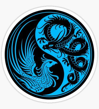 Blauer und schwarzer Drache Phoenix Yin Yang Sticker