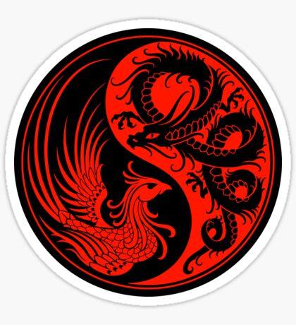 Red and Black Dragon Phoenix Yin Yang Sticker