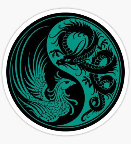 Teal Blue and Black Dragon Phoenix Yin Yang Sticker