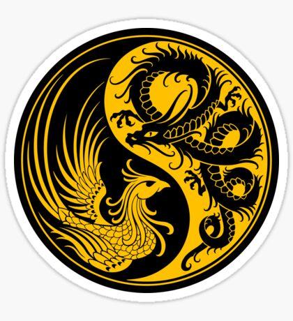 Yellow and Black Dragon Phoenix Yin Yang Sticker