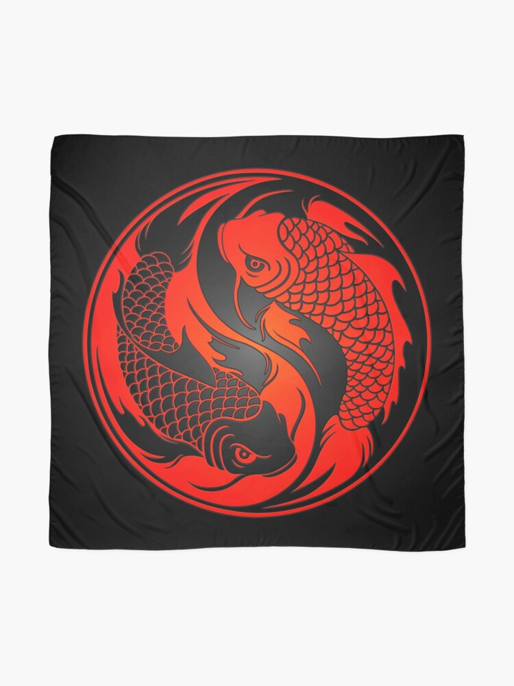 Alternate view of Red and Black Yin Yang Koi Fish Scarf