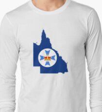 Flag Map of Queensland  Long Sleeve T-Shirt