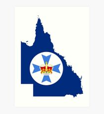 Flag Map of Queensland  Art Print