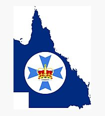 Flag Map of Queensland  Photographic Print