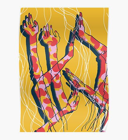 Expressive Arms in Yellow Poster