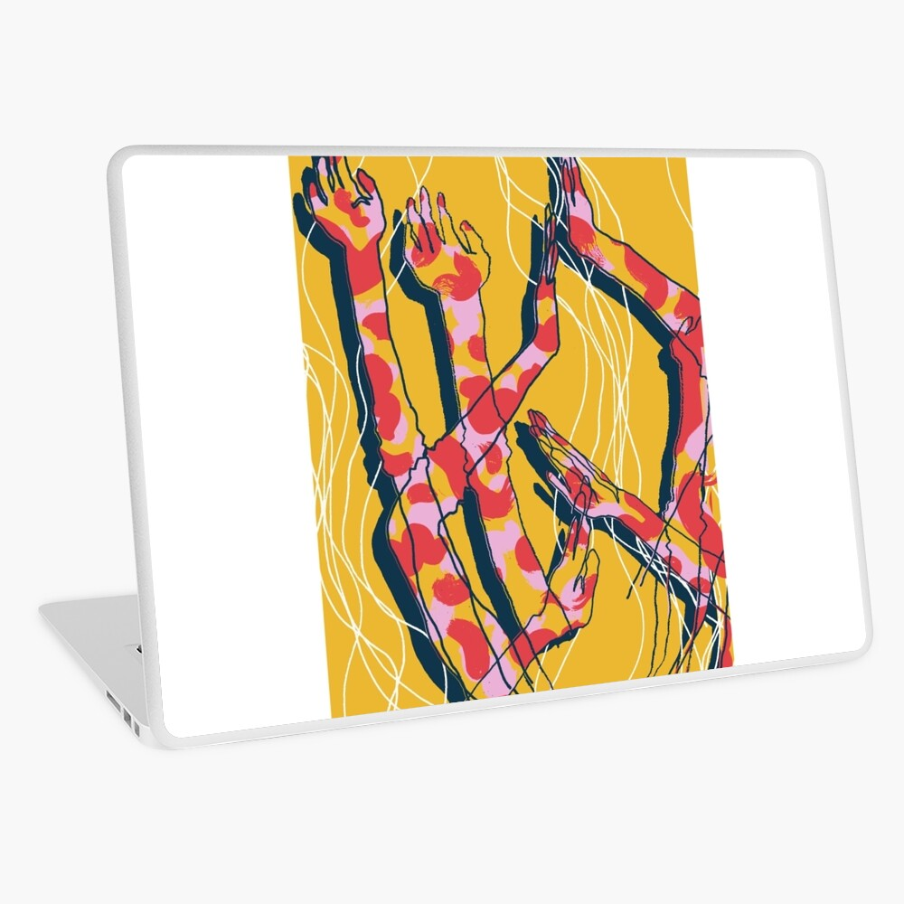 Expressive Arms in Yellow Laptop Skin