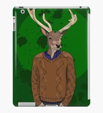 Anthropomorphic hipster deer man print iPad Case/Skin