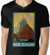 Weinleseplakat - Neuseeland T-Shirt mit V-Ausschnitt für Männer