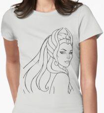 Camiseta entallada para mujer She-Ra princesa del poder (Black Line Art)
