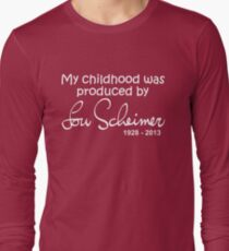 My Childhood was Produced by Lou Scheimer - White Font Long Sleeve T-Shirt