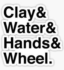 clay & water & hands & wheel Sticker