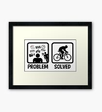 Funny Problem Solved Cycling Framed Print