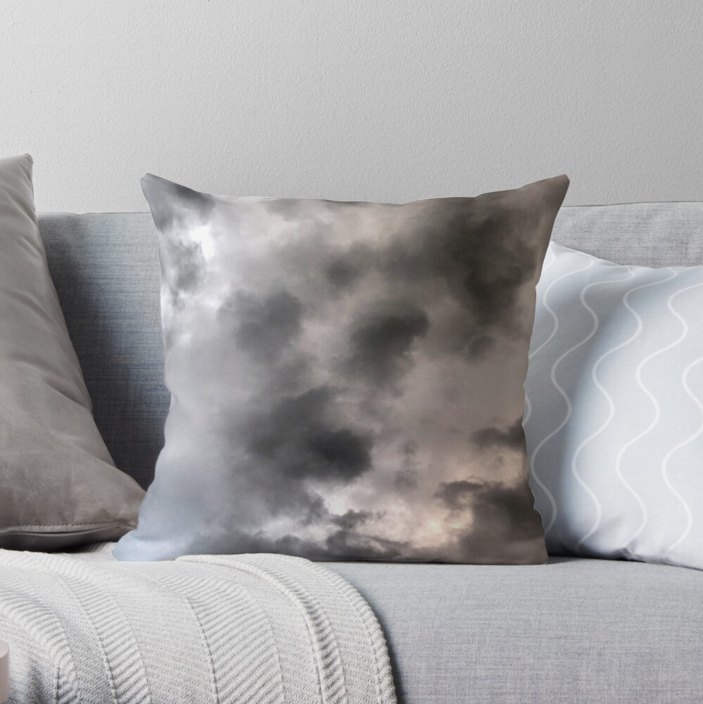 Sea storm clouds looming Throw Pillow
