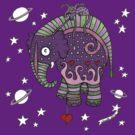 Interstellar Elephant Tee by Anita Inverarity
