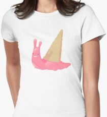 Strawberry Ice Cream Snail Womens Fitted T-Shirt