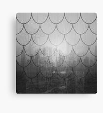 Dark forest. Black and white. Scales pattern Canvas Print
