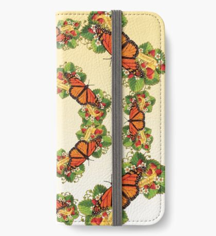 Monarch with Strawberries on Buttercream iPhone Wallet