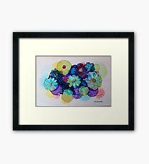 """Blooming Blues"" - Colorful Unique Original Artist's Floral Design! Framed Print"