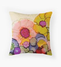 """In Full Bloom"" - Colorful Unique Original Artist's Floral Design! Throw Pillow"