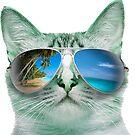CAT WEARING SUNGLASSES SUN GLASSES BEACH TROPICAL GRUMPY OCEAN KITTEN KITTY by MyHandmadeSigns