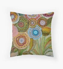"""Whimsical Bouquet"" -Colorful Unique Original Artist's Floral Design! Throw Pillow"