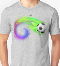 Soccer ball on colorful lightning way Unisex T-Shirt