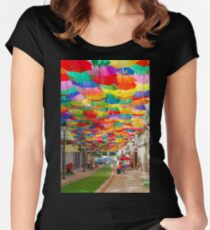 Floating Umbrellas Women's Fitted Scoop T-Shirt