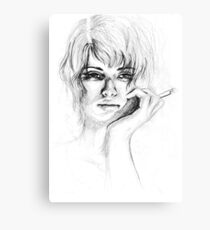 Woman with cigarette Canvas Print