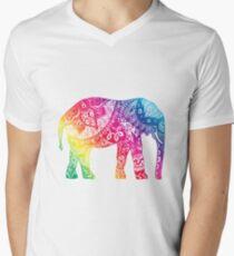 Rainbow Elephant Men's V-Neck T-Shirt