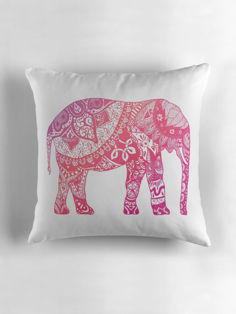 Pink Elephant Throw Pillow :