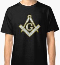 Freimaurer-Goldbling-Logo-Quadrat-Kompass Classic T-Shirt